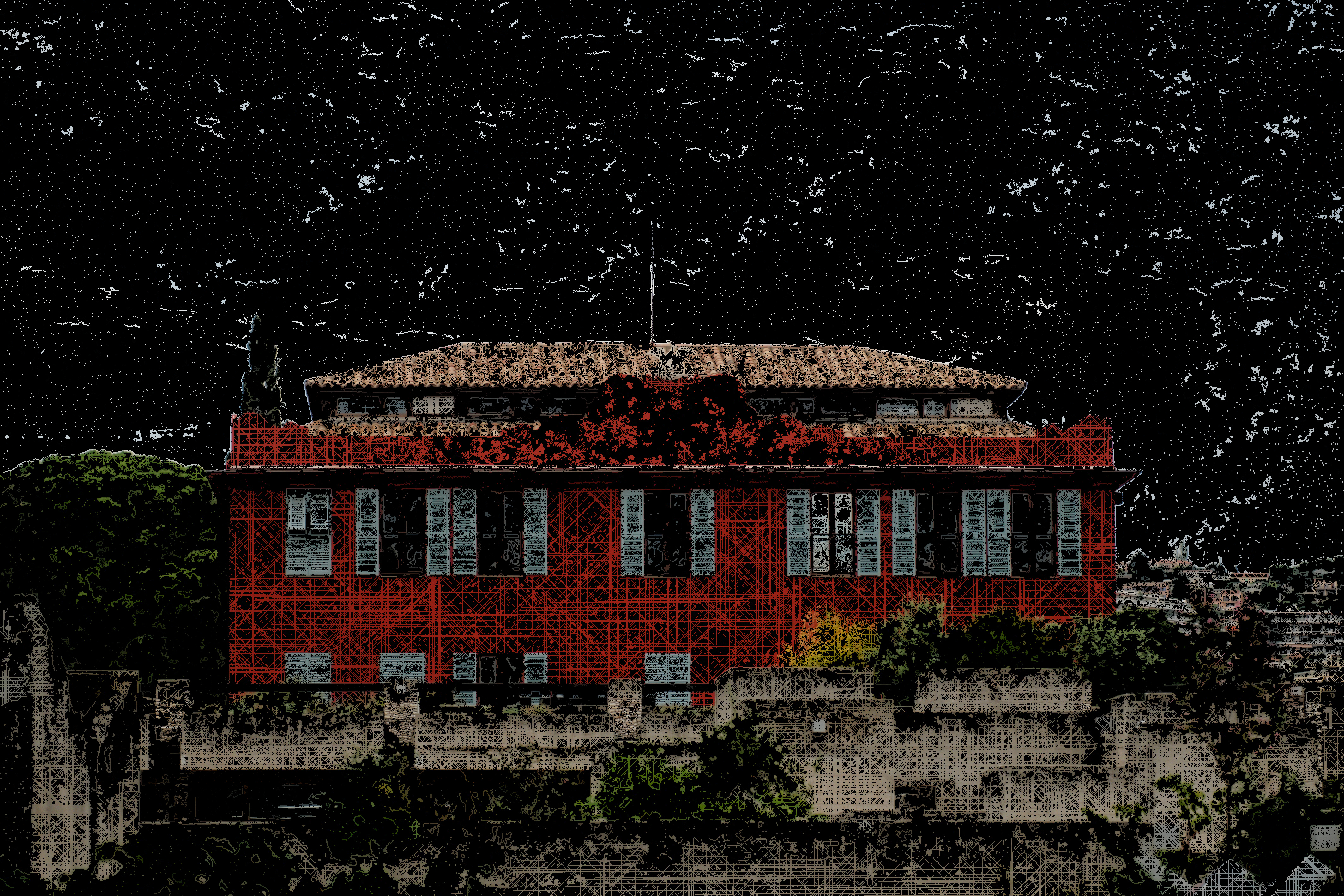 124 - Villa Arson, façade sud. FlowAutomaton 38628 agents 475 itérations. 2021. Crédit photo CC BY Zil